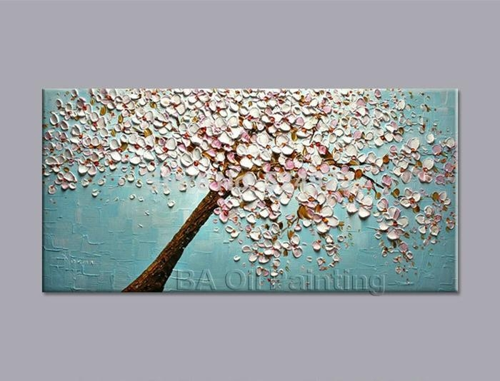 100% Hand Painted Modern Home Decor Wall Art Picture White Pink Within Abstract Cherry Blossom Wall Art (Image 1 of 20)