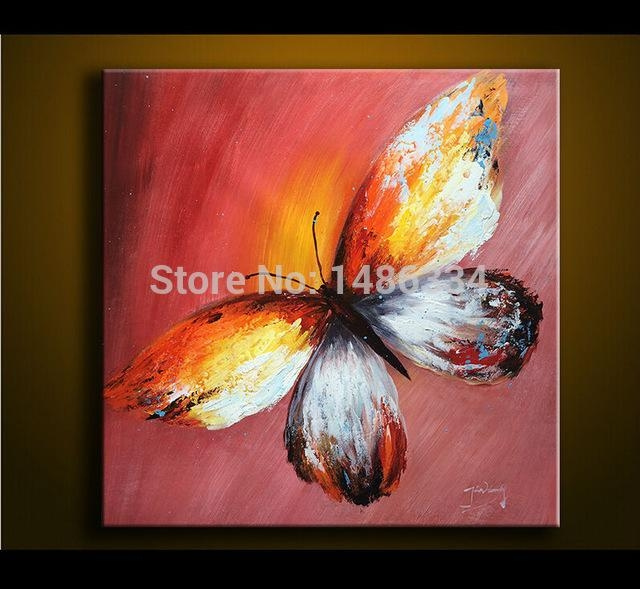 100% Hand Painted Oil Painting On Canvas Palette Knife Butterfly Within Abstract Butterfly Wall Art (Image 1 of 20)