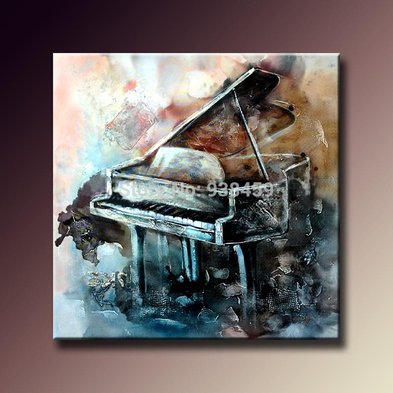 100% Hand Painted Oil Paintings On Canvas Musical Instrument With Abstract Musical Notes Piano Jazz Wall Artwork (Image 1 of 20)