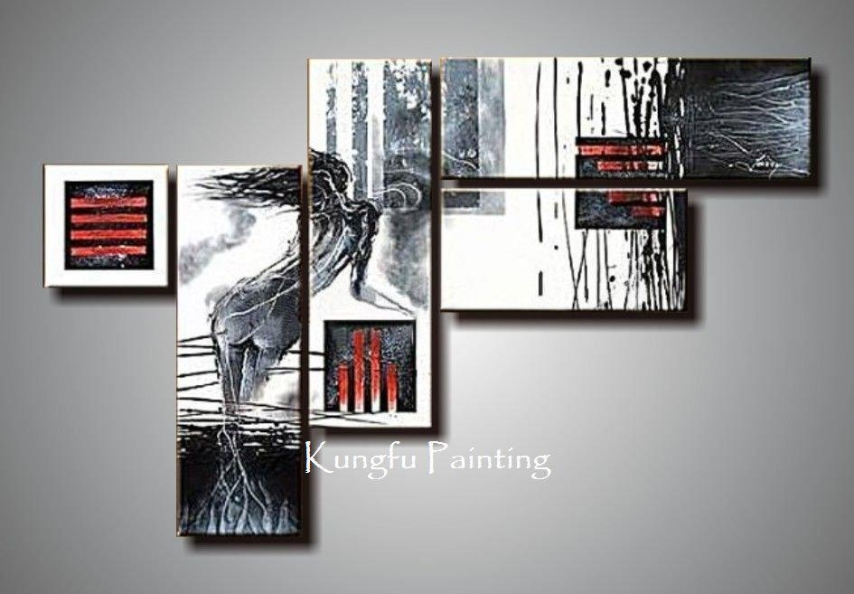 100% Hand Painted Unframed Modern Red Black And White Abstract Art Pertaining To Black And White Abstract Wall Art (Image 2 of 20)
