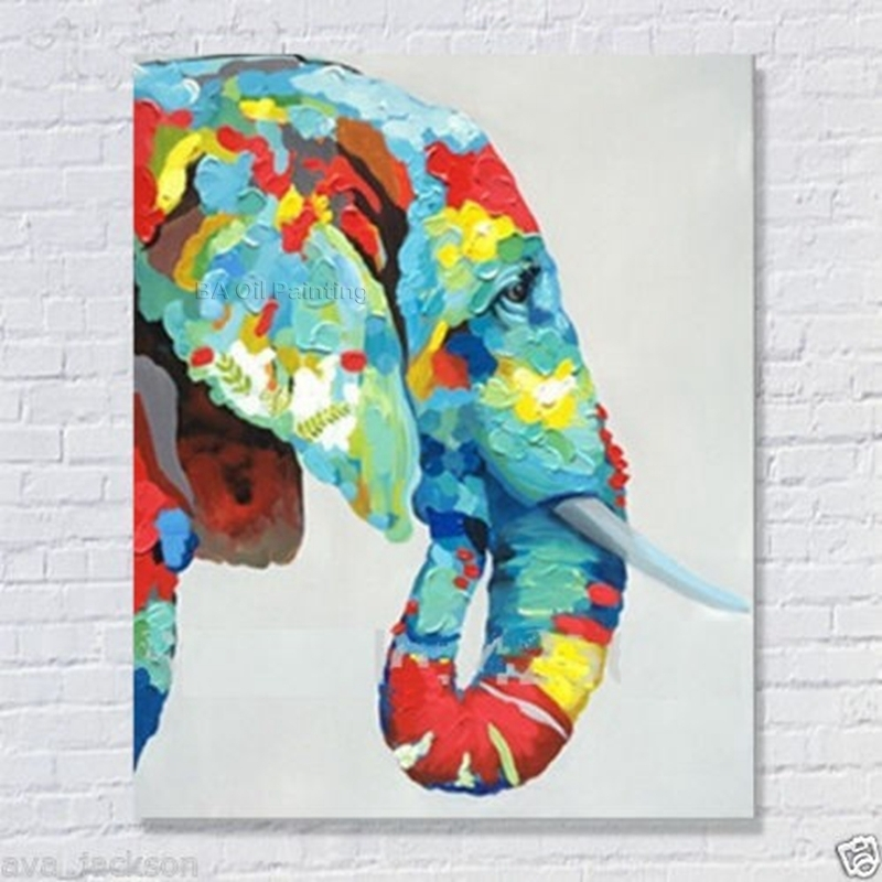 100% Handmade Decor Works High Quality Abstract Animal Modern Wall Pertaining To Abstract Elephant Wall Art (Image 1 of 15)