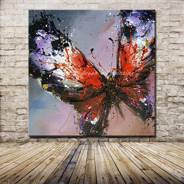 100% Handmade Modern Abstract Butterfly Oil Painting On Canvas With Abstract Butterfly Wall Art (Image 2 of 20)