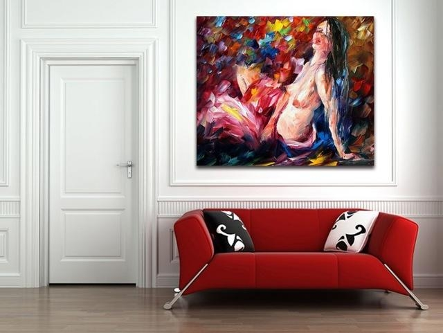 100% Handpainted Nude Girl Painting Palette Knife Oil Painting Intended For Abstract Body Wall Art (View 14 of 20)