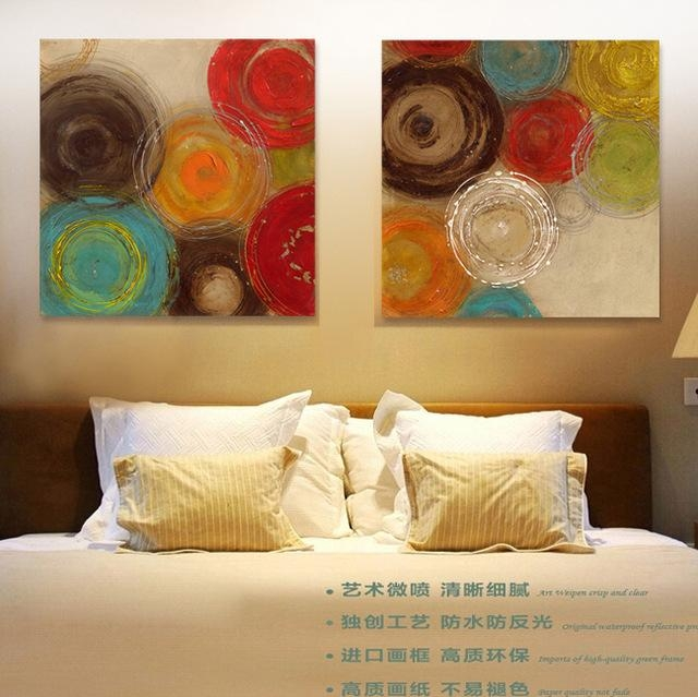 2015 Colored Circles Modern Abstract Painting Decorative Artist For Abstract Circles Wall Art (Image 1 of 20)
