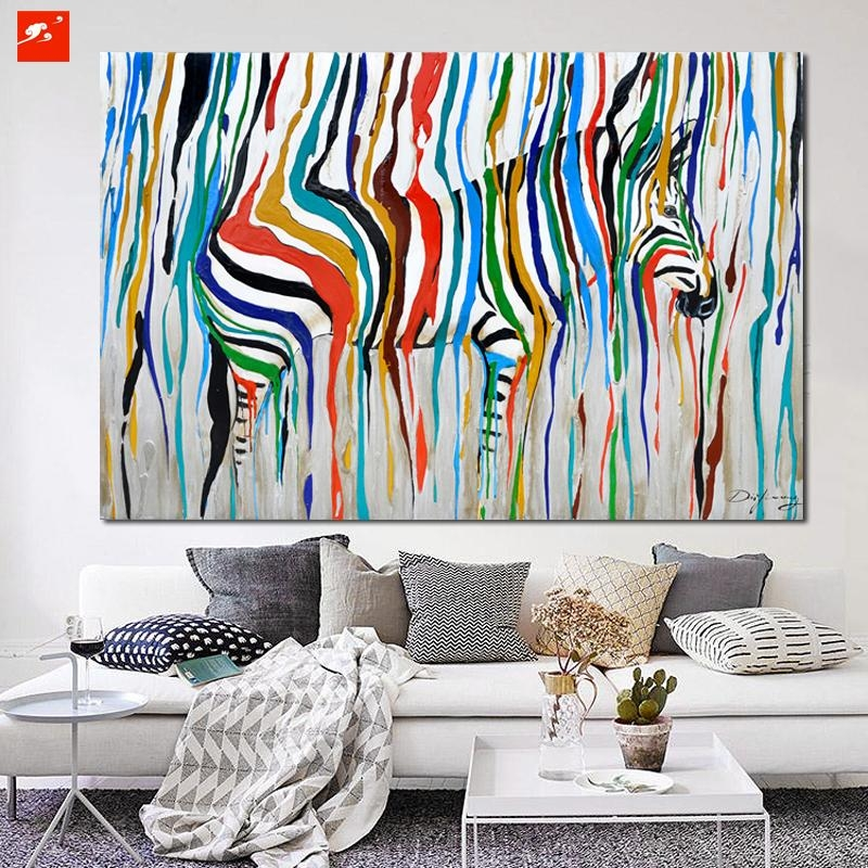 2016 Abstract Colourful Rainbow Zebra Animal Wall Art Hand Painted Regarding Big Abstract Wall Art (Image 1 of 20)