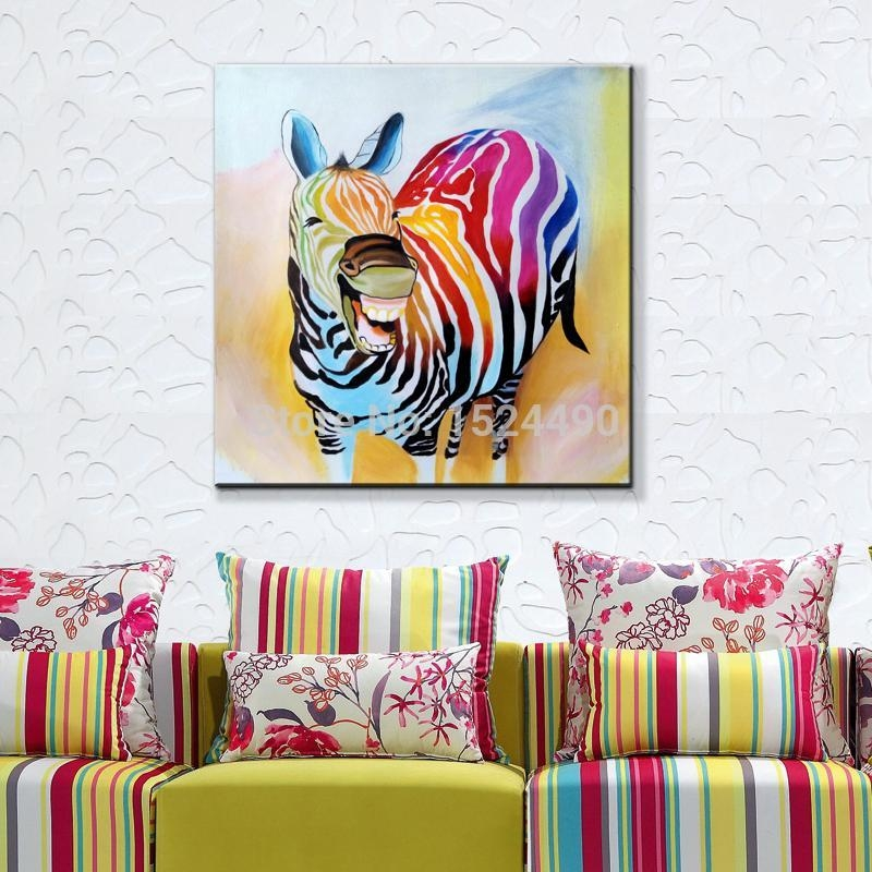 2016 Hot Sell !! Cartoon Oil Painting On Canvas Abstract Animal Regarding Abstract Animal Wall Art (View 15 of 20)