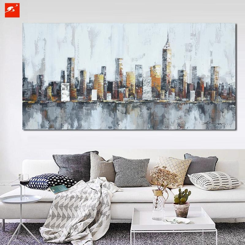 2016 New York Skyline Cityscape Architecture Abstract Wall Art Oil For Abstract Wall Art Prints (Image 1 of 20)