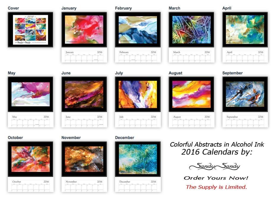 2016 Wall Calendars – Featuringpaintingsspiritartist Sandy With Regard To Abstract Calendar Art Wall (Image 3 of 20)