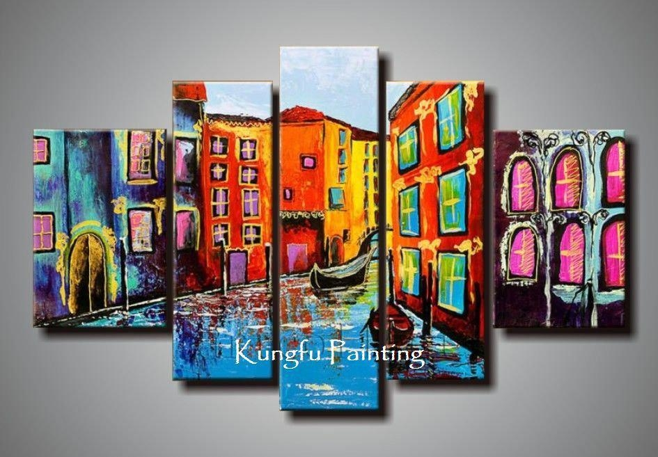 2018 100% Hand Painted Abstract 5 Panel Canvas Art Living Room With Abstract Wall Art Canada (View 14 of 20)