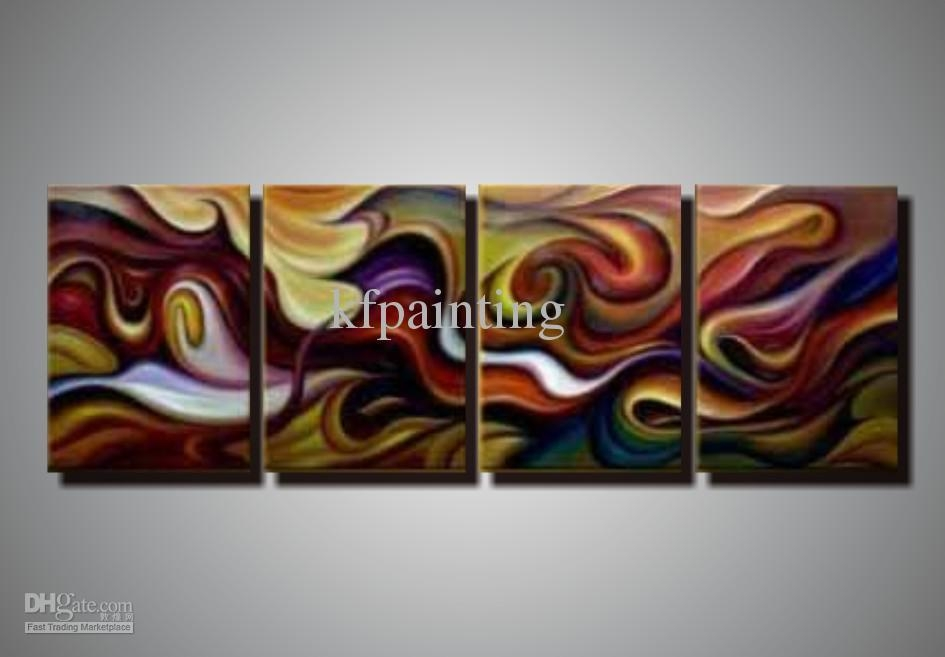 2018 100% Hand Painted Unstretched 4 Panels Abstract Painting Oil Intended For Acrylic Abstract Wall Art (View 20 of 20)