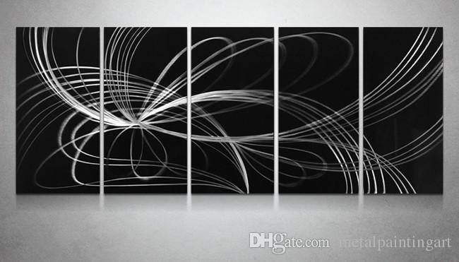 2018 Black White Aluminum Polished Modern High Quality Abstract Throughout Aluminum Abstract Wall Art (Image 2 of 20)