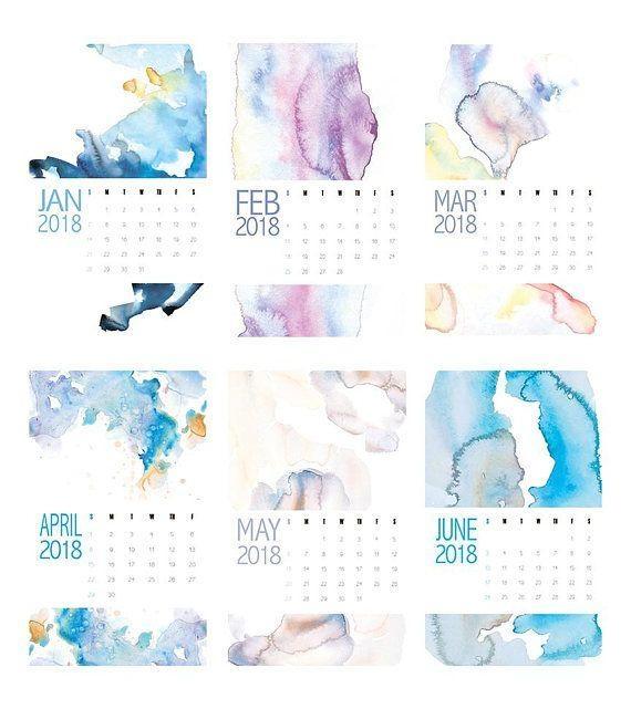 2018 Calendar, 2018 Wall Calendar, Large Wall Calendars, Abstract With Regard To Abstract Calendar Art Wall (View 15 of 20)