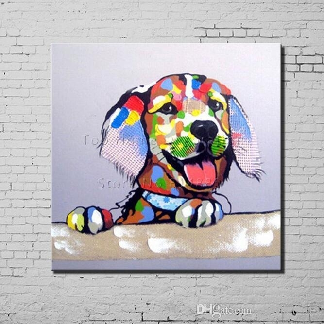 2018 Dog Cartoon Canvas Painting Texture 100% Hand Painted Modern Pertaining To Abstract Dog Wall Art (Image 2 of 15)
