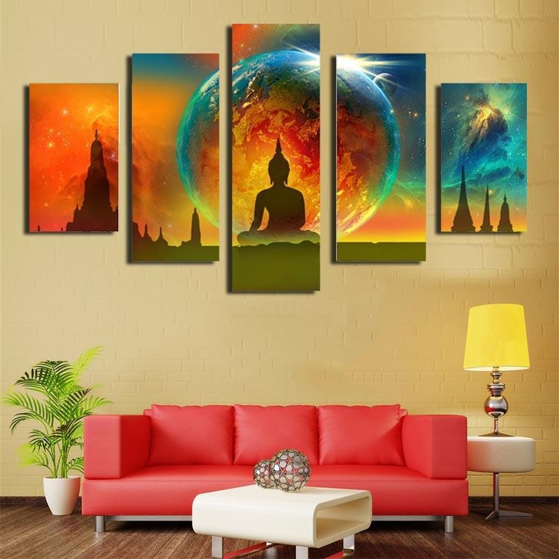 2018 Five Picture Combination Canvas Paintings Wall Art Abstract Throughout Abstract Buddha Wall Art (Image 2 of 20)