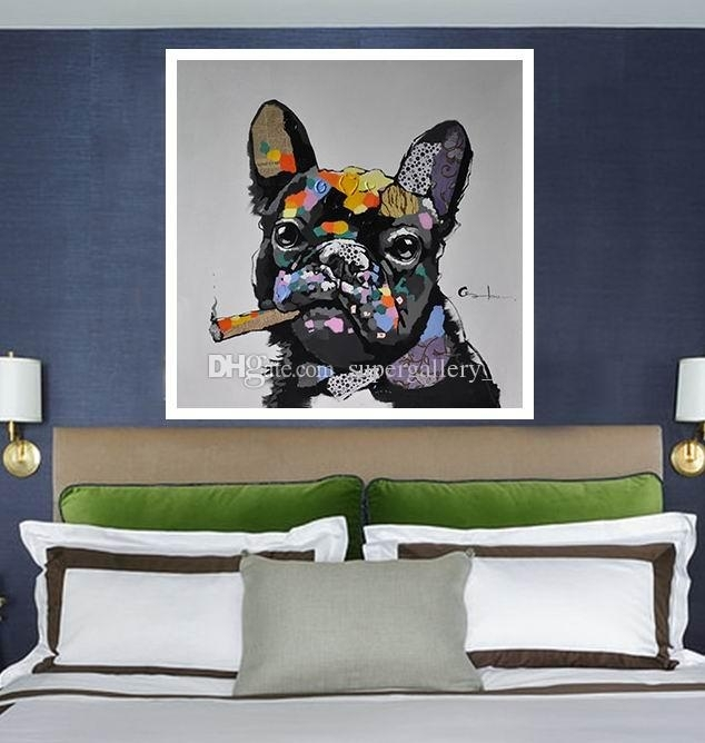 2018 Framed Dog Smoking A Cigar,handpainted Modern Abstract With Abstract Dog Wall Art (Image 3 of 15)