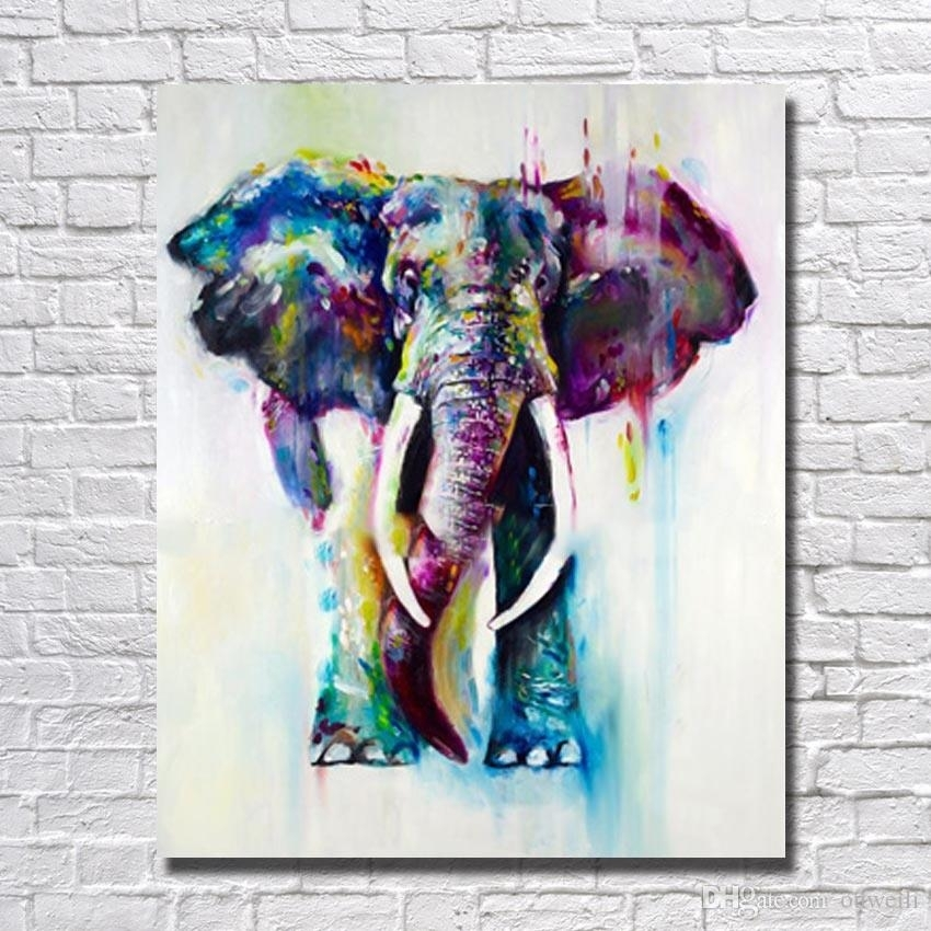 2018 Modern Abstract Knife Hand Painted Africa Elephant Animal Oil Inside Abstract Elephant Wall Art (Image 3 of 15)
