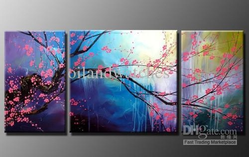 2018 Modern Abstract Wall Art Cherry Blossom Oil Painting H392 For Abstract Cherry Blossom Wall Art (Image 2 of 20)