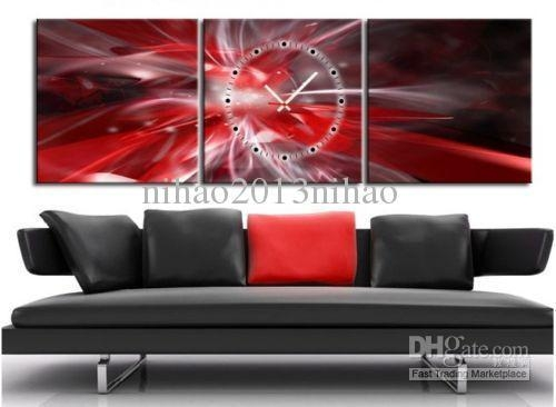 2018 Red & Silver Abstract Canvas Prints Set Of 3 With Clock Throughout Abstract Wall Art Prints (Image 2 of 20)