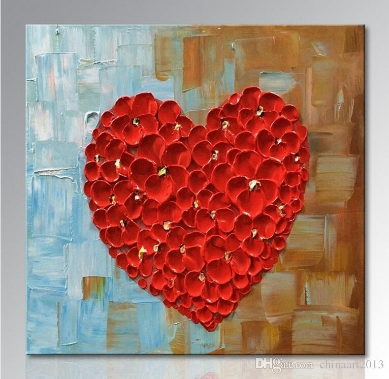 2018 Unframed Hand Painted Red Heart Oil Painting On Canvas For Abstract Wall Art For Living Room (View 14 of 15)