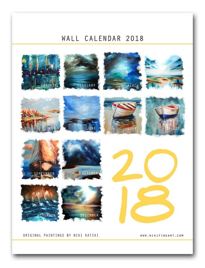2018 Wall Art Calendar – Expressionist Abstract Paintingsniki Pertaining To Abstract Calendar Art Wall (View 2 of 20)