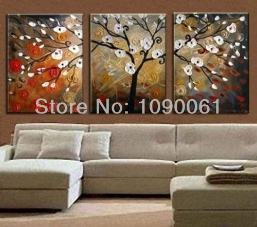 2018 Wholesale Hand Painted Tree Landscape Oil Paintings On Canvas Throughout Abstract Wall Art For Dining Room (View 8 of 15)