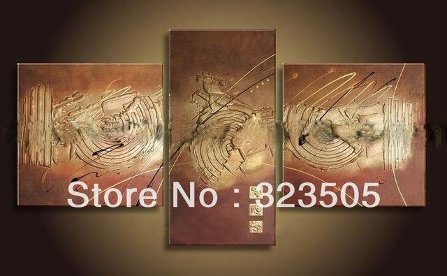 3 Panel Brown Acrylic Canvas Wall Art Modern Abstract Wall Decor Pertaining To Brown Abstract Wall Art (Photo 20 of 20)