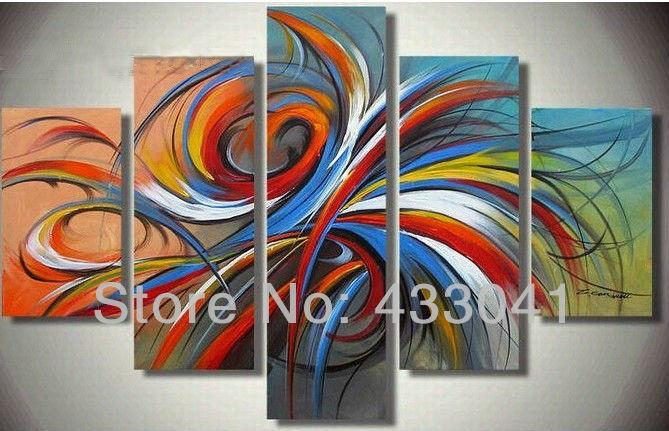 3 Piece Sets Oil Painting On Canvas Handpainted Red Yellow Blue In Bright Abstract Wall Art (View 7 of 20)