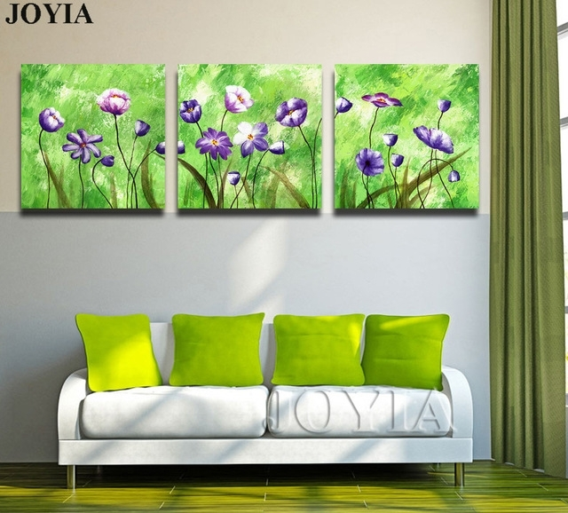 3 Piece Triple Paintings Set Abstract Floral Wall Art Printed With Abstract Floral Canvas Wall Art (Image 2 of 15)