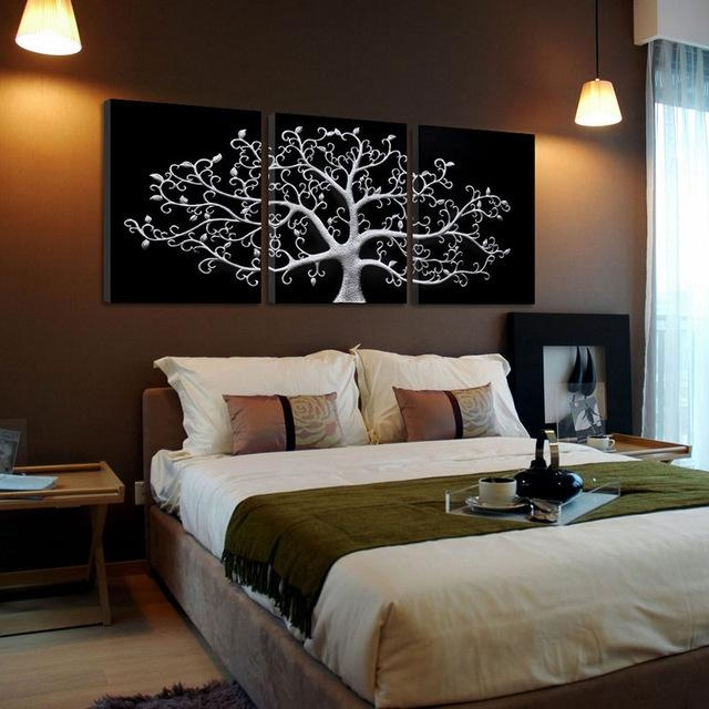 3 Piece Wall Abstract Metal Wall Art Tree Canvas Print Tree With Abstract Metal Wall Art (Image 3 of 20)