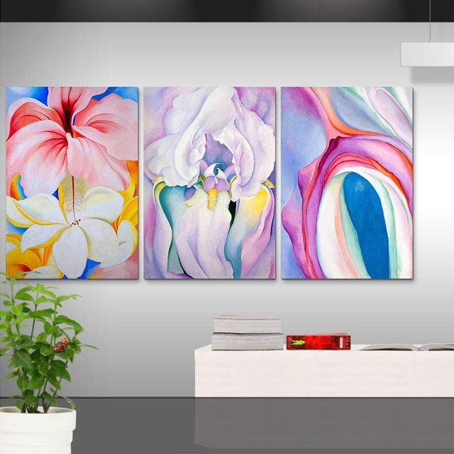 3 Piece Wall Picture Oil Blue White Abstract Wall Art Canvas Regarding Blue Canvas Abstract Wall Art (Image 2 of 20)