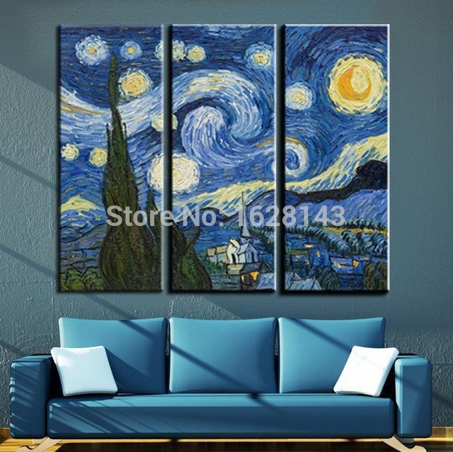3 Pieces Vincent Van Gogh Oil Painting Starry Night Famous Intended For Vincent Van Gogh Wall Art (Image 2 of 20)