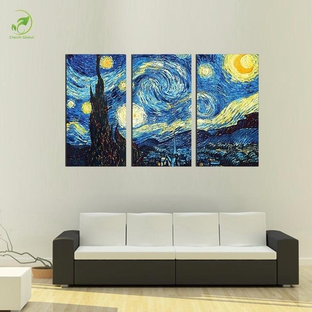 3Pcs Masters Starry Night Vincent Van Gogh Prints Reputation Oil Throughout Vincent Van Gogh Wall Art (Image 3 of 20)