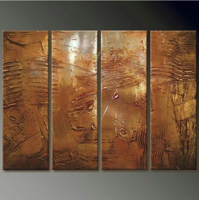 4 Piece Abstract Modern Muti Panel Canvas Wall Art Brown Artwork in Brown Abstract Wall Art