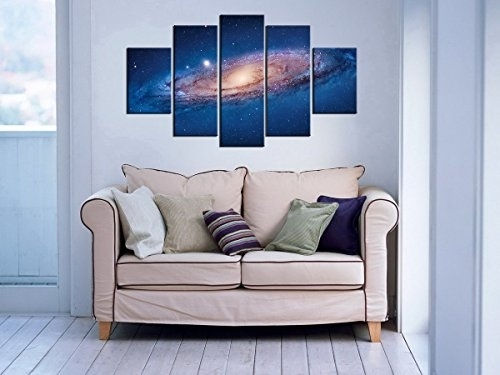 5 Panel Modern Abstract Wall Art Dark Universe Photo Canvas Prints Regarding Dark Blue Abstract Wall Art (View 13 of 15)