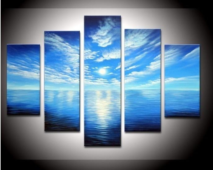 5 Panel Wall Art Seascape Blue Ocean Picture Sea Oil Painting With Regard To Blue Canvas Abstract Wall Art (Image 3 of 20)