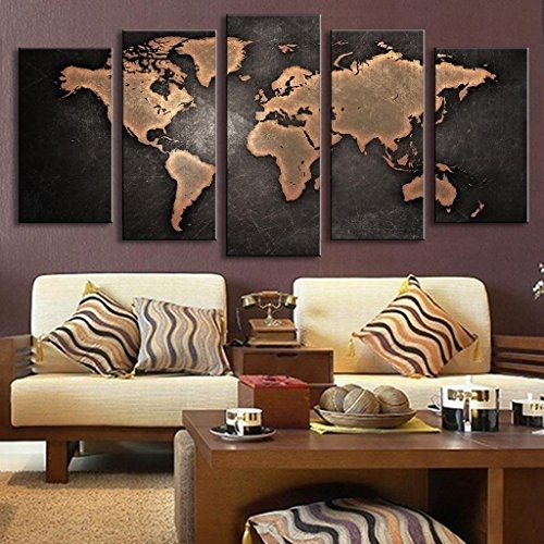 5 Pcs/set Modern Abstract Wall Art Painting World Map Canvas For Abstract Wall Art For Living Room (View 15 of 15)