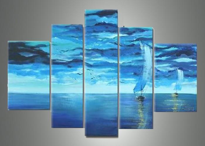 5 Piece Blue Abstract Wall Art Pictures Paintings On Canvas Ocean For Blue Abstract Wall Art (Image 1 of 20)