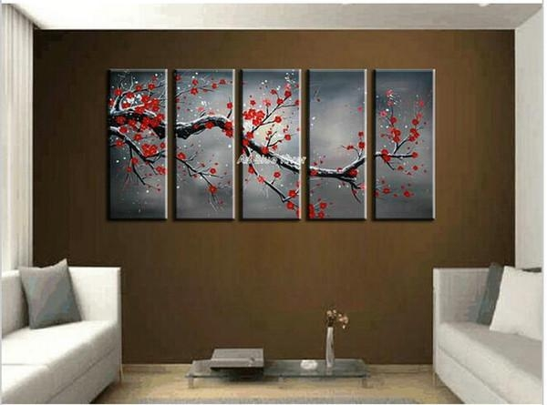 5 Piece Canvas Wall Art Cheap Abstract Wall Decor Red Cherry In Abstract Cherry Blossom Wall Art (View 18 of 20)
