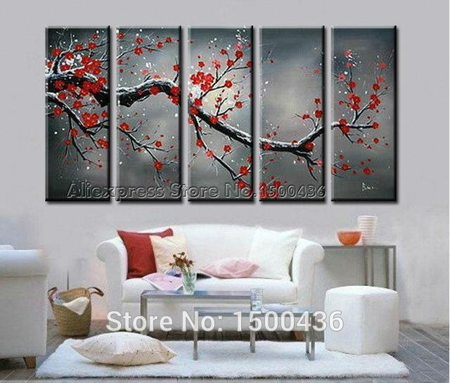 5 Piece Cherry Blossom Paint Abstract Red Flower Oil Handpainted Pertaining To Cherry Blossom Oil Painting Modern Abstract Wall Art (Image 2 of 20)