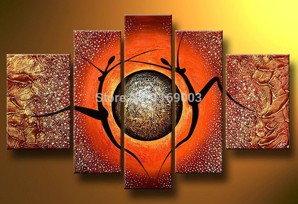 5 Piece Modern Abstract Canvas Wall Art Handmade African Nude Art In Abstract African Wall Art (Image 5 of 20)