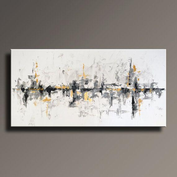"75"" Large Original Abstract Black White Gray Gold Painting On with Black and Gold Abstract Wall Art"