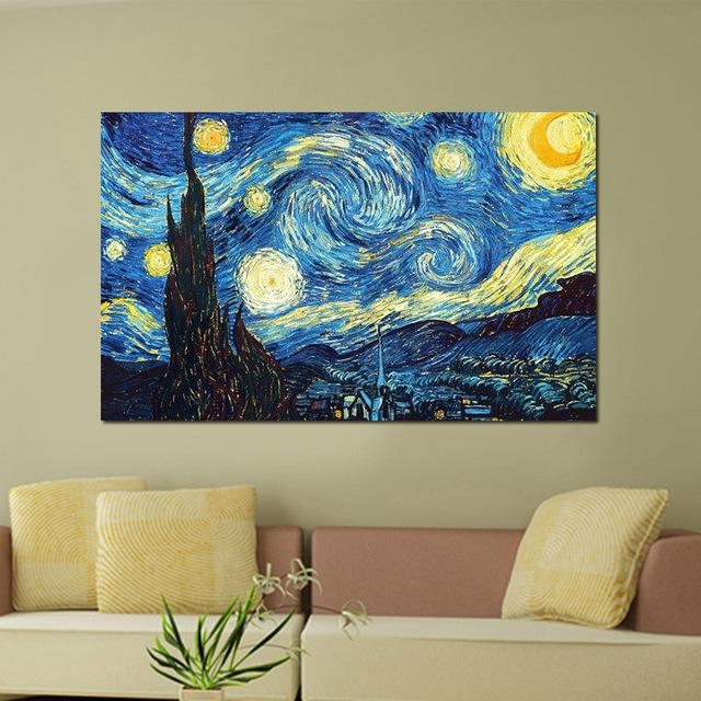A1/a2/a3 Digital Canvas Printed Masters Starry Night Vincent Van With Vincent Van Gogh Wall Art (View 9 of 20)