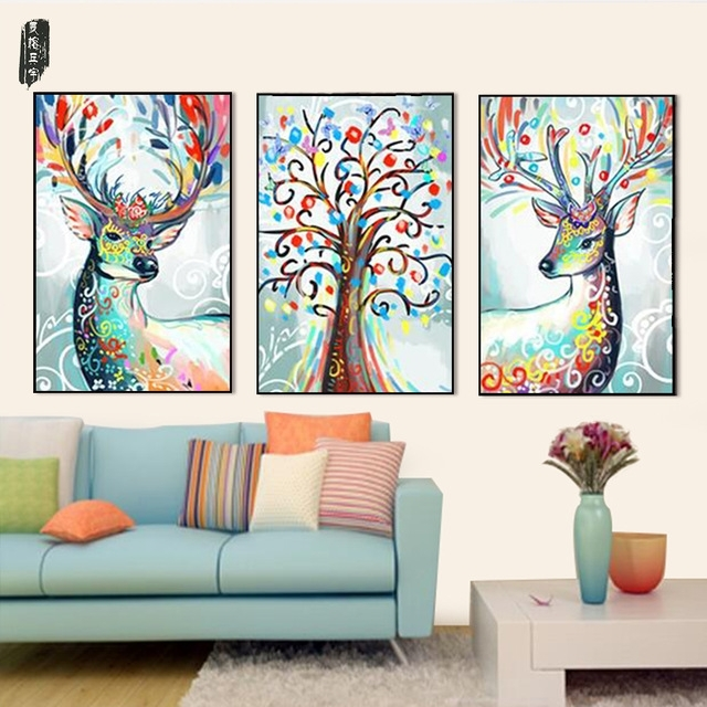Abstract Animal Wall Art Deer Canvas Painting Posters And Prints With Regard To Abstract Deer Wall Art (Image 2 of 15)