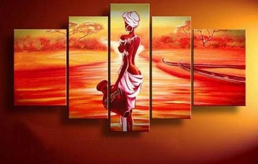Abstract Art, African Girl, Sunset Painting, Canvas Painting, Wall Regarding Abstract African Wall Art (Image 7 of 20)