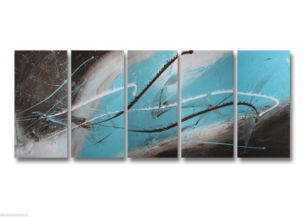 Abstract Art Canvas Painting Brown Turquoise (View 5 of 20)