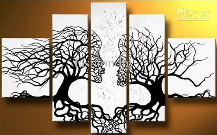 Abstract Black White Oil Painting Couple Love Tree Home Office Intended For Black And White Abstract Wall Art (Image 6 of 20)