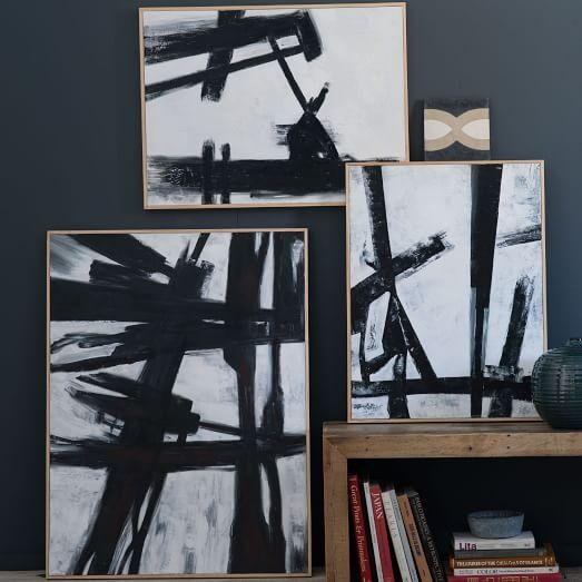 Abstract Black + White Wall Art | West Elm with regard to Bold Abstract Wall Art