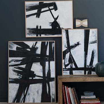 Abstract Black + White Wall Art | West Elm With Regard To West Elm Abstract  Wall