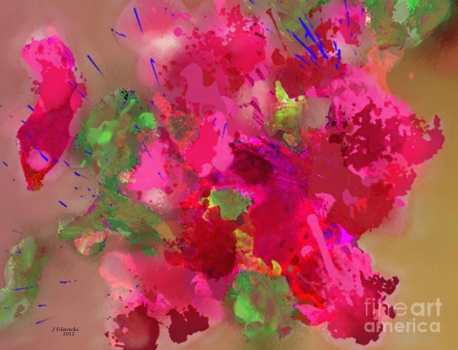 Abstract Bougainvillea Painting Floral Wall Art Paintingjudy Throughout Abstract Floral Wall Art (Image 2 of 15)