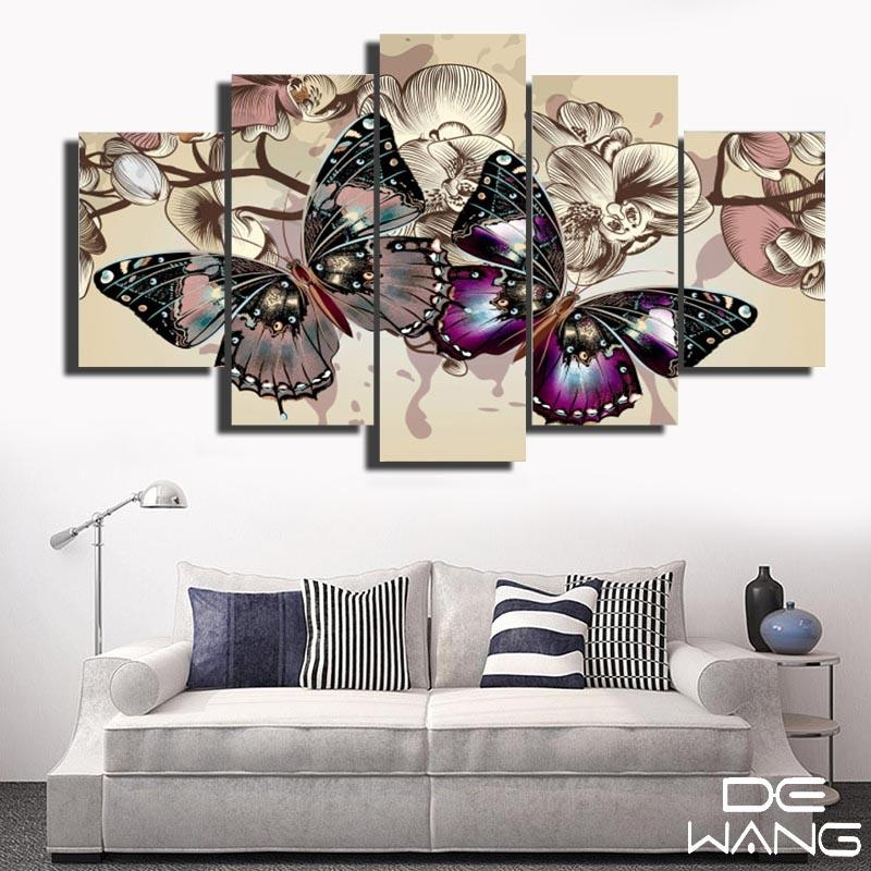Abstract Butterfly Wall Canvas Art Painting – Canvas Store Intended For Abstract Butterfly Wall Art (Image 4 of 20)
